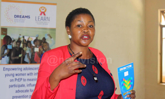Mukono district local government secretary for health, gender and security, Samalie Musenero during the launch of LEARN Project. PHOTOS: Elvis Basudde