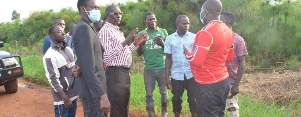 Hon Rev Dr PETER BAKALUBA MUKASA CHAIRPERSON LC V Mukono district monitoring Road construction within Nama sub County.
